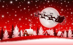 Red and White Christmas scene with Santa and reindeer in the starlit sky