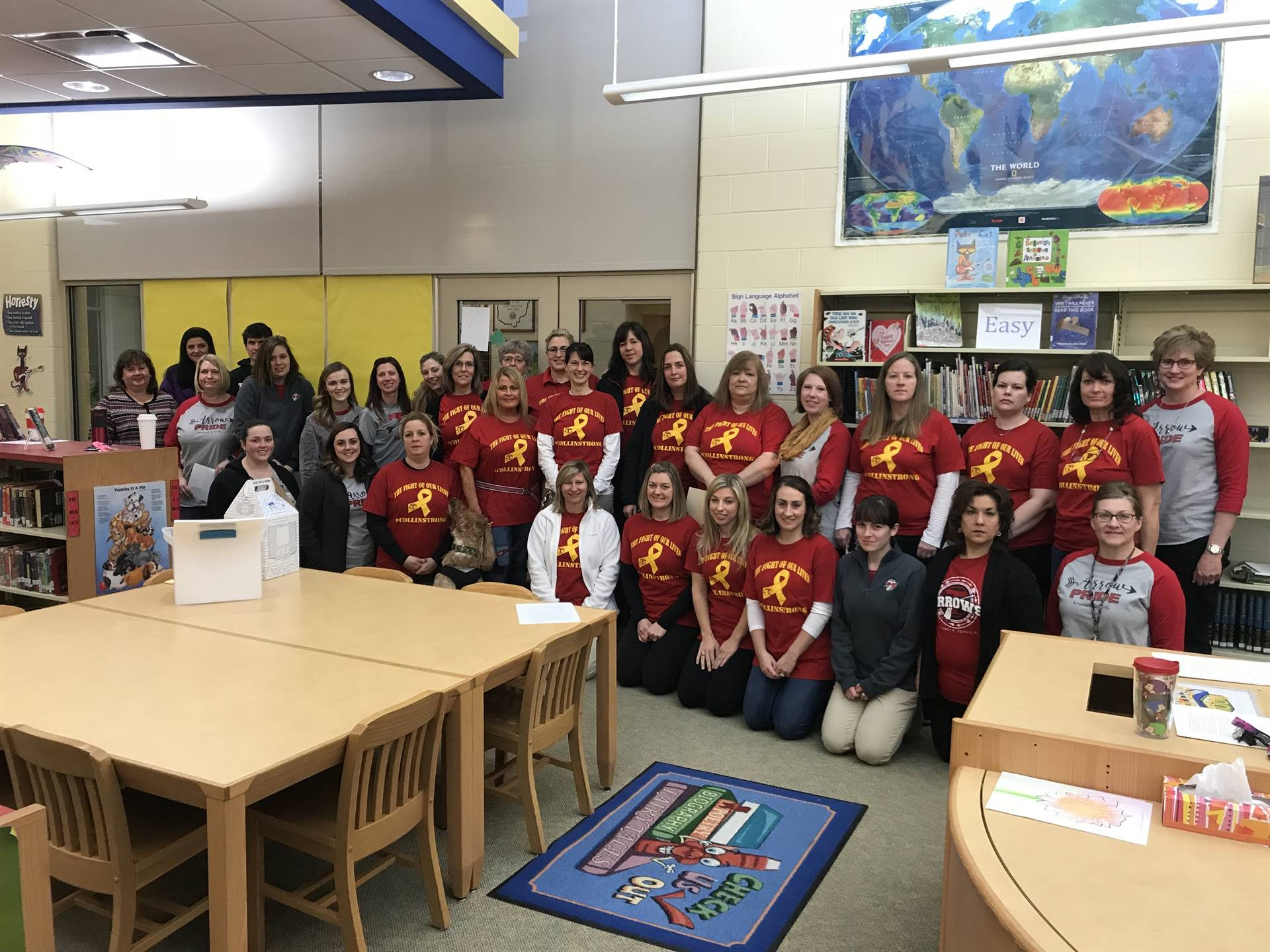 teachers wearing Collin Strong t-shirts in support of Collin Griffin