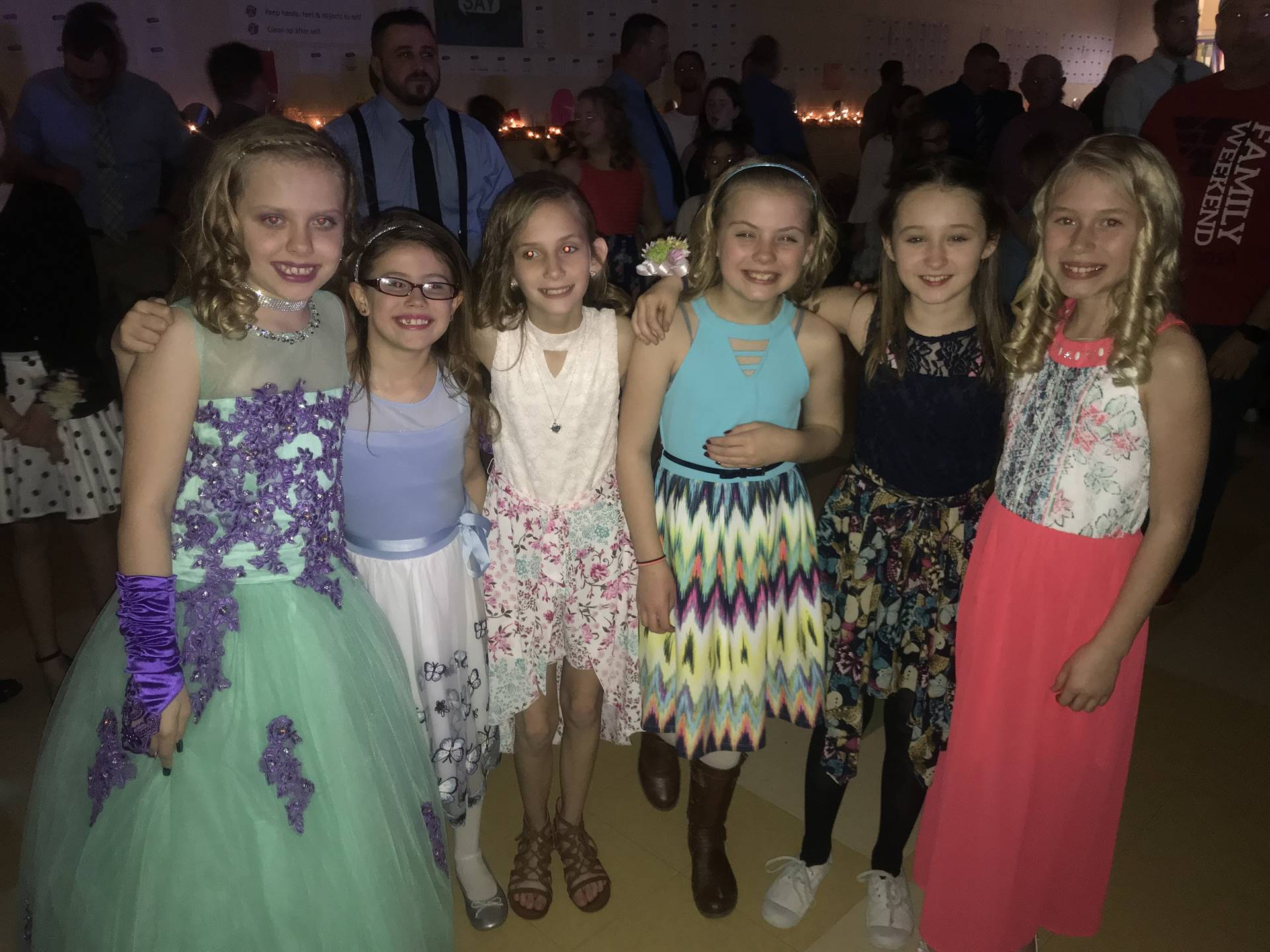 group of girls at the father daughter dance