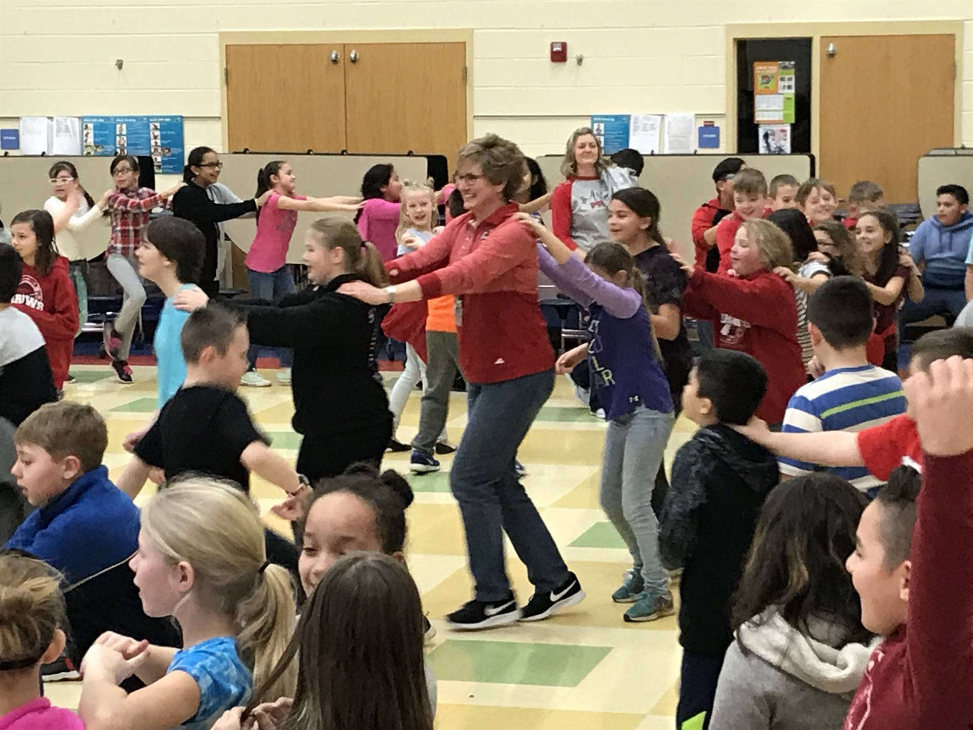 PBIS reward dance party photo in the cafeteria