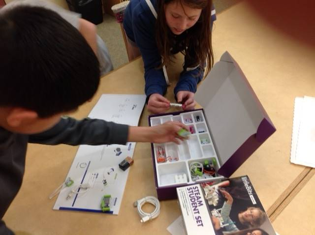 5th grade students discovering STEAM concepts with LittleBits kit