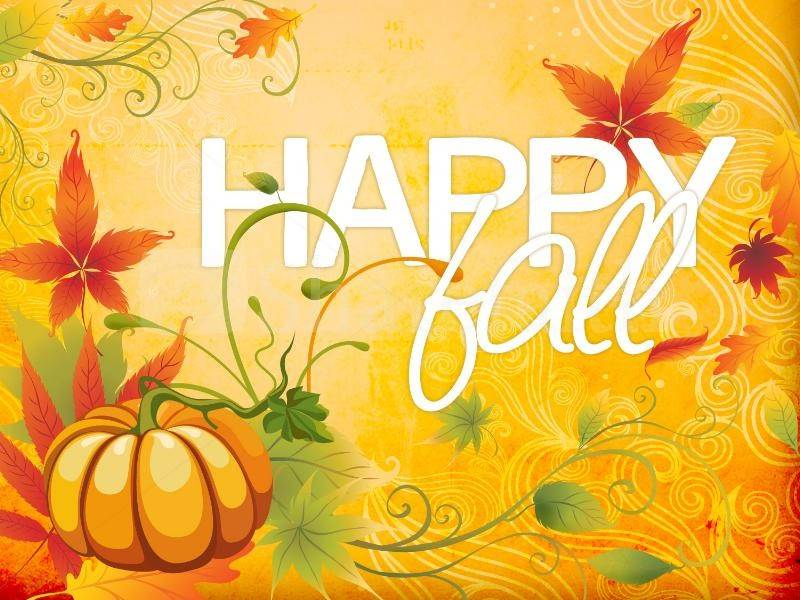 Happy Fall clip art with pumpkin and leaves