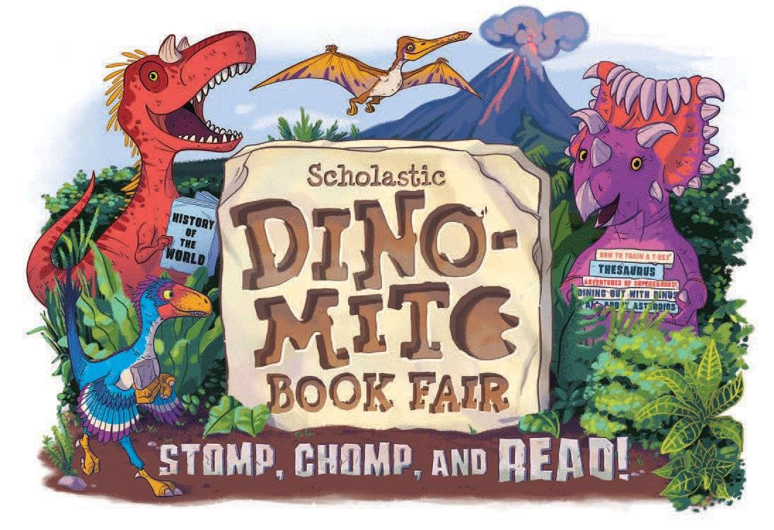 Scholastic Dino-mite Book Fair with dinosaurs